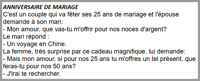 histoire drole 50 ans de mariage