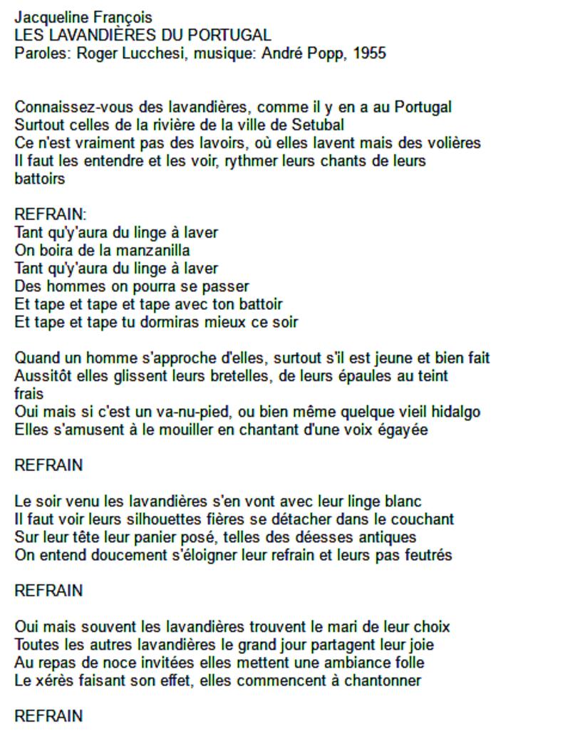 Paroles De Chanson D Antan Les Lavandieres Du Portugal Joyeux