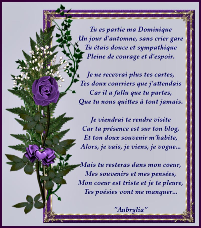 Poésie Pour Mon Amie Dominique