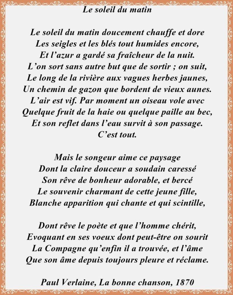Le Soleil Du Matin Paul Verlaine Poeme Soleil Du Matin