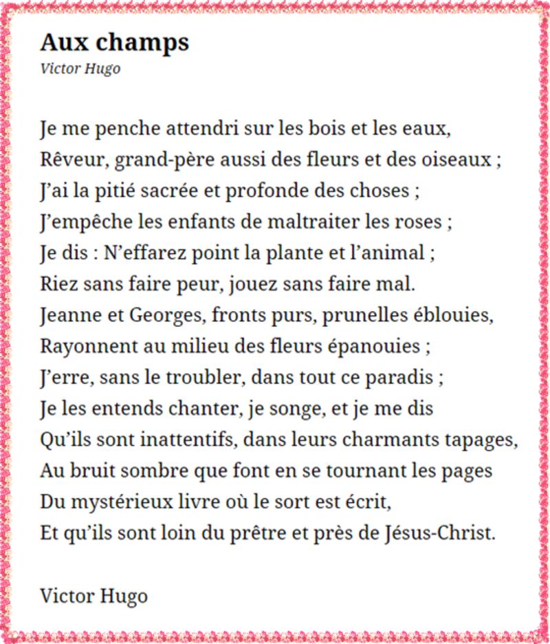 Aux Champs Victor Hugo